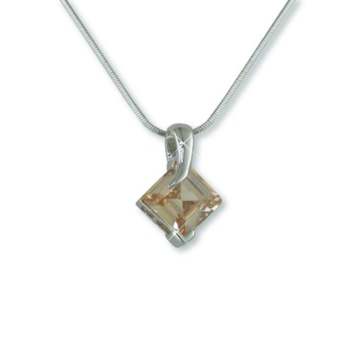 Champagne Cubic Zirconia Rhodium Necklace