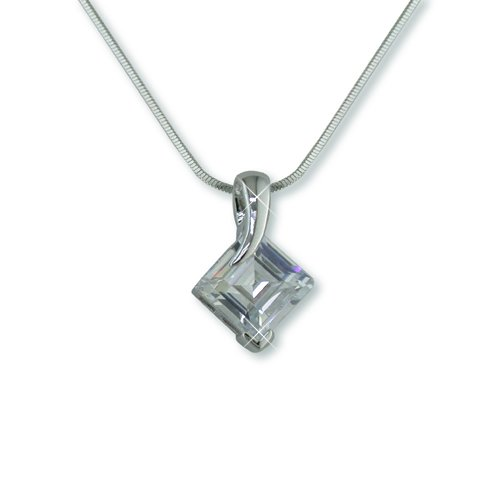 Cubic Zirconia Square Rhodium Necklace