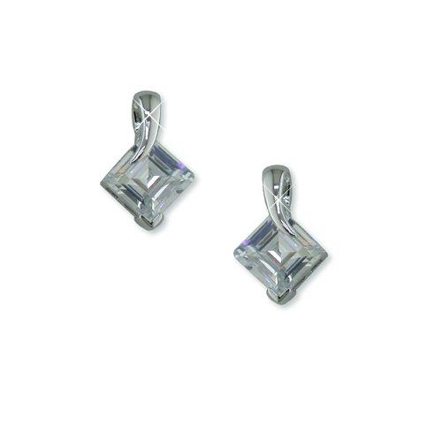 Cubic Zirconia Square Rhodium Earrings