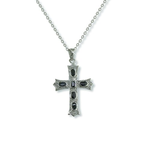 Jet Cubic Zirconia Cross Necklace (N5774)