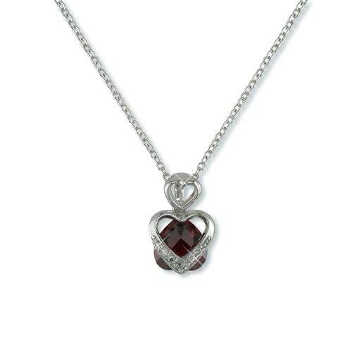 Heart-shaped Garnet Cubic Zirconia Necklace