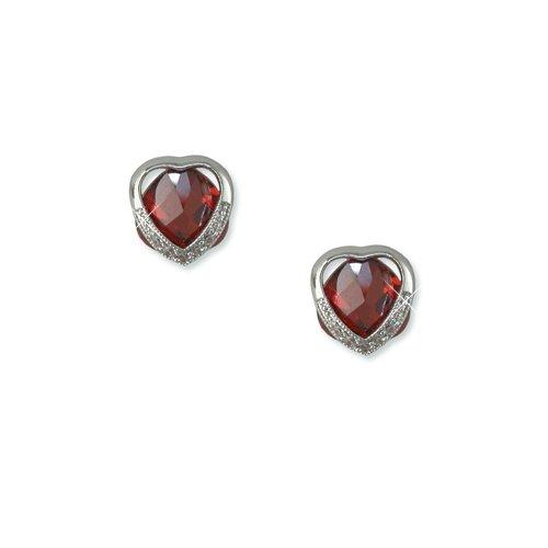 Heart-shaped Garnet Cubic Zirconia Earrings