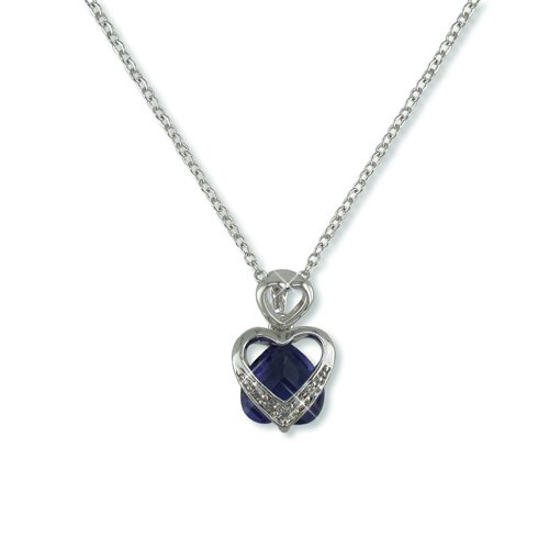 Heart-shaped Blue Tanzanite Cubic Zirconia Necklace