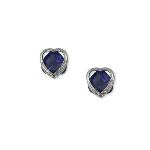 Heart-shaped Blue Tanzanite Cubic Zirconia Earrings