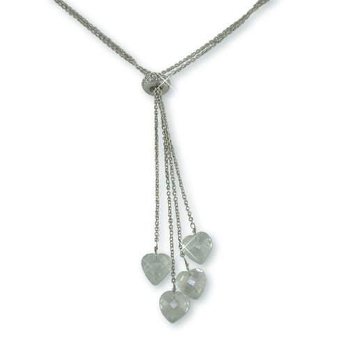 Cubic Zirconia Dangle Hearts Necklace