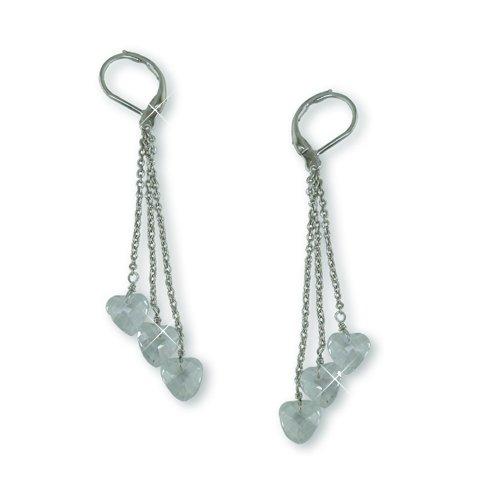 Cubic Zirconia Hearts Dangle Earrings