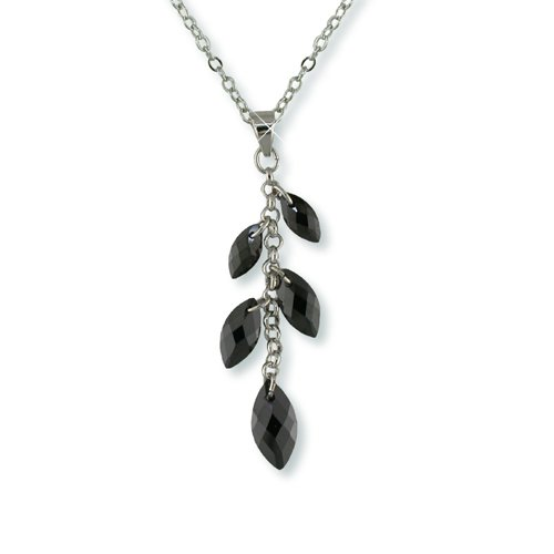 Jet Marquise Cubic Zirconia Rhodium Necklace