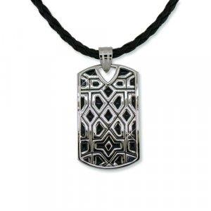 Black & Rhodium Dog Tag Necklace (N6294)