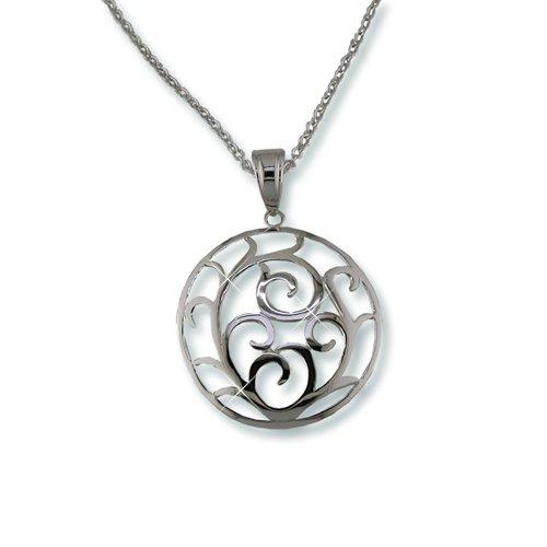 Rhodium Medallion Necklace (N5450S)