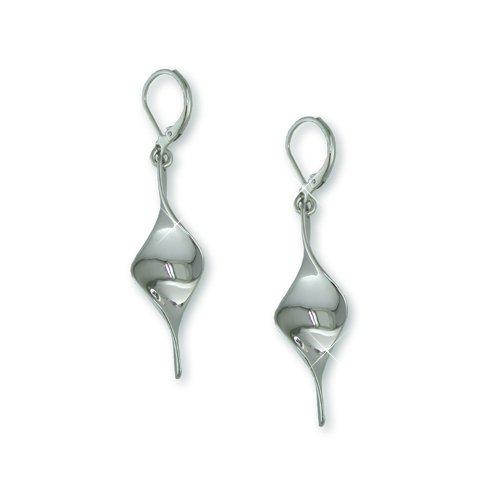Twisted Rhodium Bar Earrings