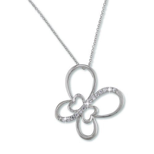 Butterfly Rhodium Necklace (N6725S)