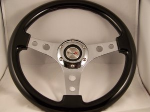"BLACK 12-3/4"" STEERING WHEEL""NEW"" CHROME CENTER"