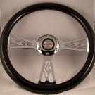 "WOOD BLACK FLAME STEERING WHEEL""NEW"" CHROME CENTER"