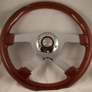 "WOOD MAHOGANY 13-3/4"" STEERING WHEEL 4 SPOKE CHROME"