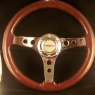"WOOD 100% REAL MAHOGANY 12-3/4"" STEERING WHEEL""NEW"""