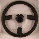 "STEERING WHEEL 12 3/4"" ALUMINUM 3 SPOKE W/HORN BUTTON"