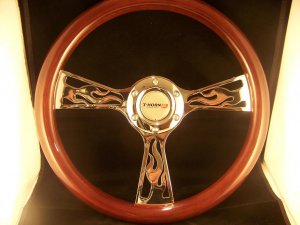 WOOD MAHOGANY FLAME STEERING WHEEL w/SILVER HORN BUTTON