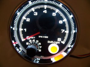 """3-3/4"""" TACHOMETER CHROME WITH BLACK FACE 0-8,000 RPM WITH SHIFT LIGHT NEW"""