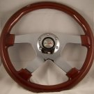 "WOOD MAHOGANY 13-3/4"" STEERING WHEEL 4 SPOKE CHROME NIB"