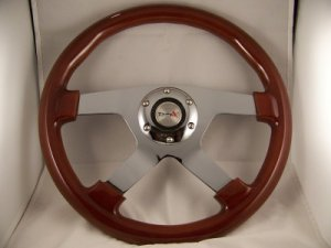 """14"""" Mahogany Steering wheel 4 spoke chrome center with adaptor GM Chevy '69 & up"""