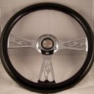 "Black Steering Wheel 14"" Chrome Flame Center 6 hole Momo Bolt Pattern 2 3/4"""