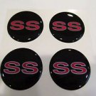 Chevy SS wheel center cap hub cap center decal red and silver 43mm set of 4