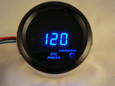 """2"""" Digital Oil Pressure Gauge Black with Blue LED includes sending unit"""