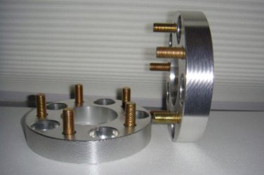 """1"""" Wheel Spacers 5 x 4.5"""" (114.3mm) to 5 x 4.5"""" 12mm studs 1 Pair 5 lug adapters"""