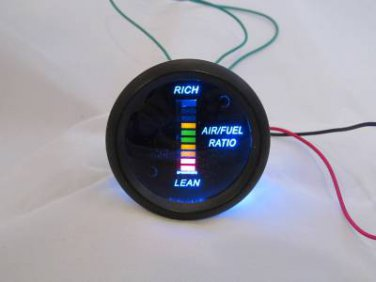 "Air/Fuel Ratio Gauge 2"" Blue LED Digital Black face with Red/Yellow/Green Digits"
