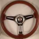 "14"" Mahogany Steering wheel 3 spoke chrome slots with adaptor GM Chevy '69 & up"