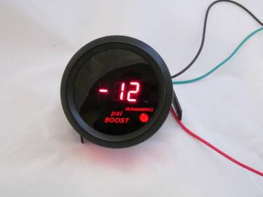 "2"" Digital Boost Vacuum Gauge Black with Red LED -14 to 29 PSI w/ sending unit"