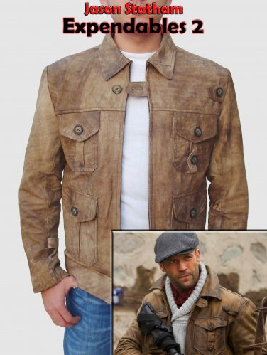 """Expendables 2 """"Jason Statham"""" Leather Jacket pure Cow Leather"""