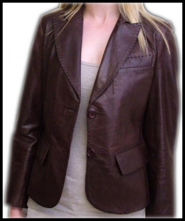ladies Brown leather Blazer jackets Lamb Leather