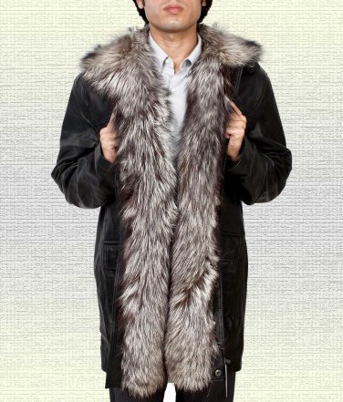 Silver Fox Fur Collar Leather Jacket