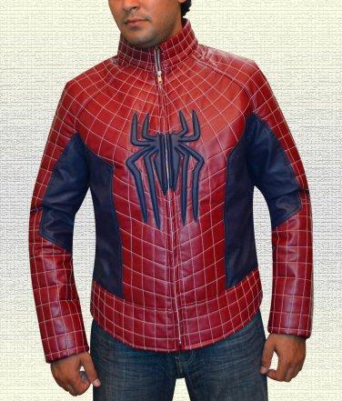Amazing Spidy web PU Leather Jacket Spider Logo on Chest For Men