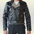 Men Stylish Metal Studs Biker Fashion Handmade Black Leather Jacket in all Sizes