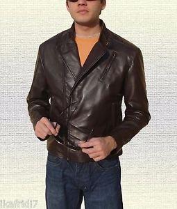 Iron Man Tony Stark Brown Black Leather Jacket size Small-4XL Men