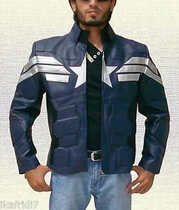 Captain America Winter Soldier Biker Blue Leather Jacket size Small-4XL Men