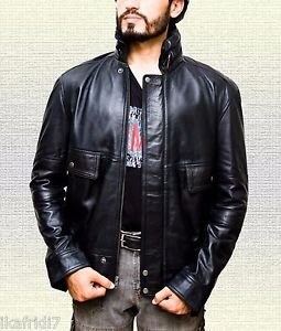 Men Black Mass Jhony Depp  Handmade Sheep Leather Jacket Size Small-5XL Black