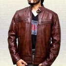 Men Cafe Racer Biker Vintage Brown Handmade Sheep Leather Jacket Size Small-5XL