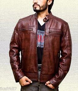 Men Cafe Racer Biker Vintage Brown Handmade Sheep Leather Jacket Size Small-5XL