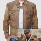 Expendables 2 Jason Statham  Handmade Genuine Goat Leather Jacket S-5XL Brown