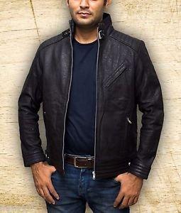 Men Bourne Legacy Jeremy Renner Distressed Handmade Black Sheep Leather Jacket