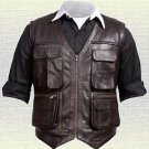 Chris Pratt Jurassic World Handmade Brown Real Leather Vest New Sizes