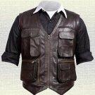 Chris Pratt Jurassic World Handmade Brown Real Leather Vest New Sizes