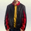 Christian Bale Batman Bruce Wayne Handmade Sheep Leather Jacket Red Black S-5XL
