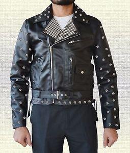 Stylish Metal Studs Biker Fashion Handmade Men Black Leather Jacket in all Sizes