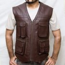 Chris Pratt Jurassic World Handmade Brown Synthetic Leather Vest Size Small -5XL