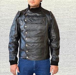 Captain America Winter Soldier Bucky Barnes Handmade Leather Jacket+Vest Black M