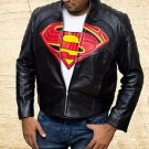 Batman Vs Superman Dawn of Justice logo Handmade Black Sheep Leather Jacket